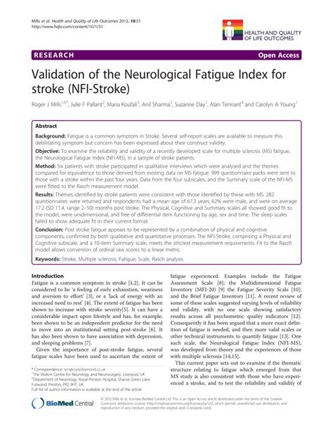 (PDF) Validation of the Neurological Fatigue Index for