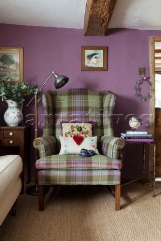 EW015_26: Tartan armchair with vintage anglepoise in p