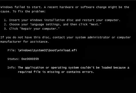 Trying to install win7 on new laptop, error 0xc0000359