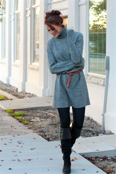 Oversized Sweater Dress with Knee High Boots