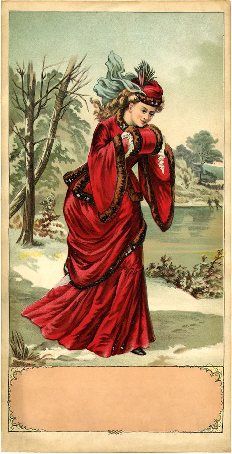 Stunning Victorian Winter Lady Image! - The Graphics Fairy