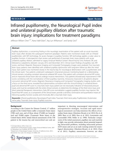 (PDF) Infrared pupillometry, the Neurological Pupil index