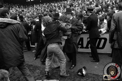 West Ham and Manchester United fans fight on the terraces