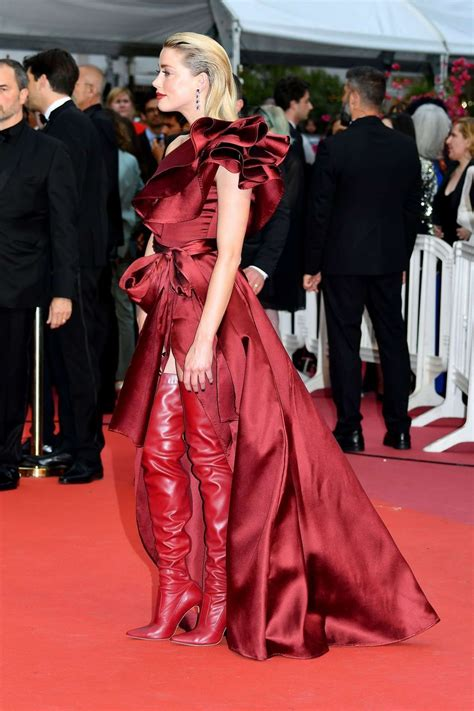 Amber Heard Red Leather Boots Summer 2019 | SASSY DAILY