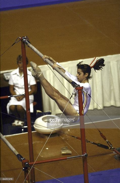 Romania Nadia Comaneci in action during uneven bars at