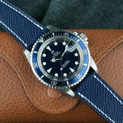 Navy Textured Calf Leather Watch Band | B & R Bands