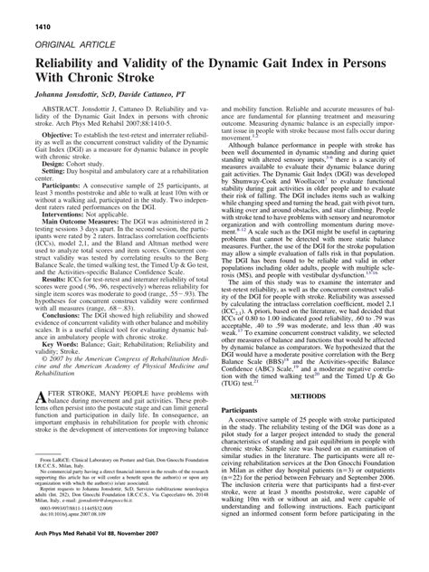 (PDF) Reliability and Validity of the Dynamic Gait Index