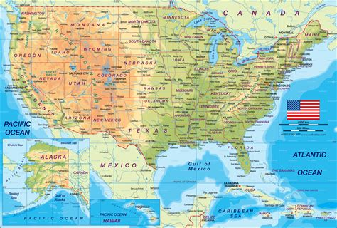 Map of United States (the USA) - Map in the Atlas of the