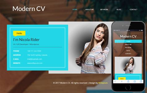 Modern CV - Personal Mobile Web Template - On Air Code