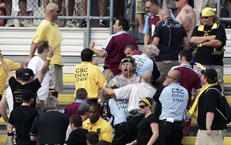 West Ham fans brawl with Columbus Crew as football