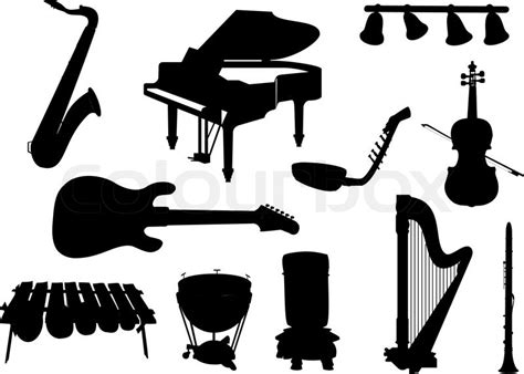 Collection of silhouettes of musical instruments   Stock