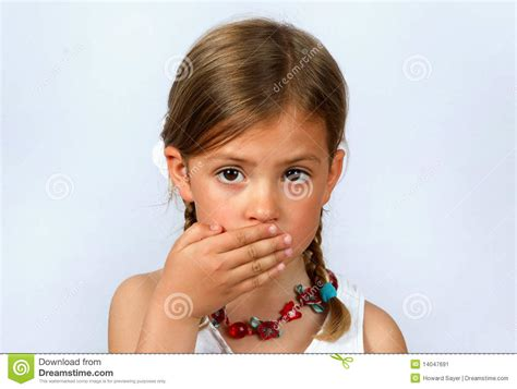 Girl Covering Her Mouth Stock Image - Image: 14047691
